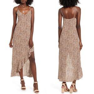 One Clothing leopard print ruffle midi slip dress